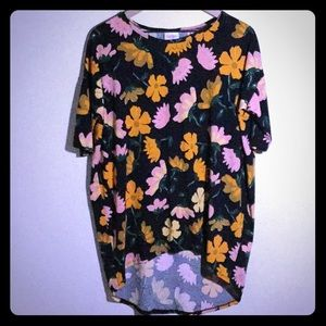 LulaRoe XS Tunic Black, Yellow Orange Pink Flowers